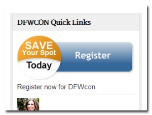 Click the Register button on the DFWCon site