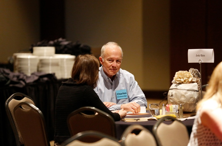 A DFW Writers Conference attendee takes part in a pitch session during a previous year's conference.